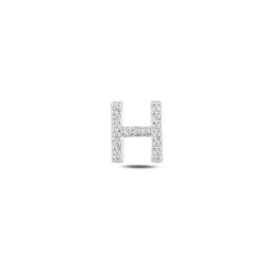 Ürün resmi: Tekli Rodyum Kaplama Beyaz Zirkon Taş -H- Harfi Gümüş Küpe
