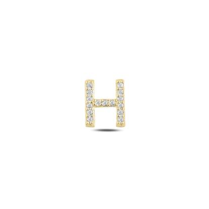 Resim Tekli Altın Kaplama Beyaz Zirkon Taş -H- Harfi Gümüş Küpe