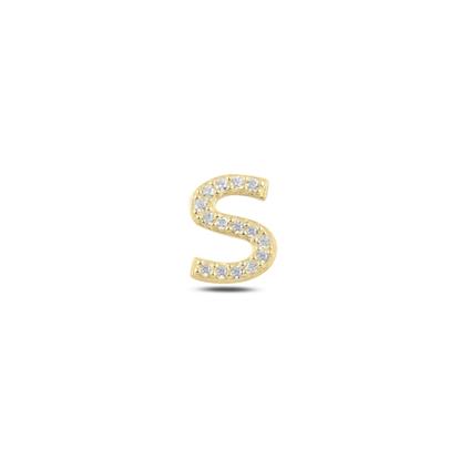 Resim Tekli Altın Kaplama Beyaz Zirkon Taş -S- Harfi Gümüş Küpe