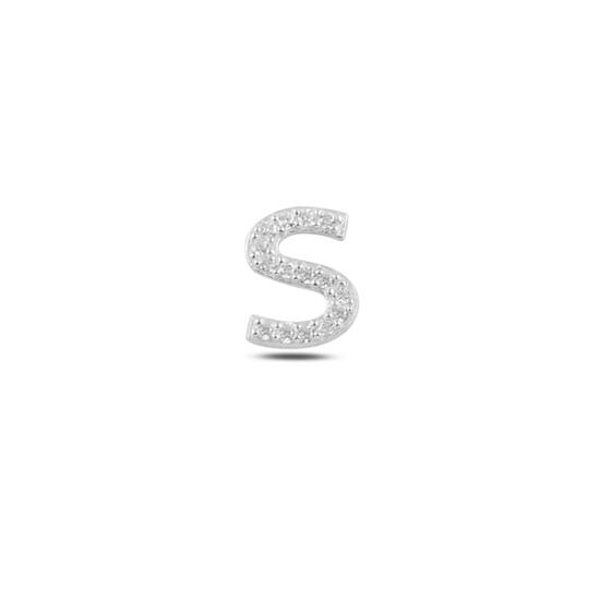 Ürün resmi: Tekli Rodyum Kaplama Beyaz Zirkon Taş -S- Harfi Gümüş Küpe