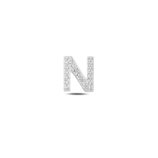 Ürün resmi: Tekli Rodyum Kaplama Beyaz Zirkon Taş -N- Harfi Gümüş Küpe