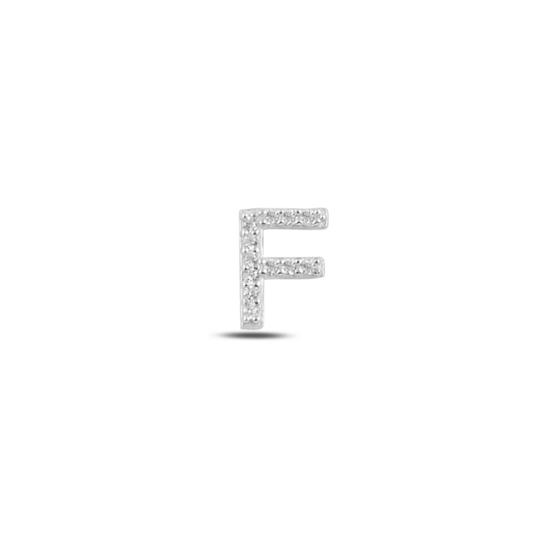 Ürün resmi: Tekli Rodyum Kaplama Beyaz Zirkon Taş -F- Harfi Gümüş Küpe