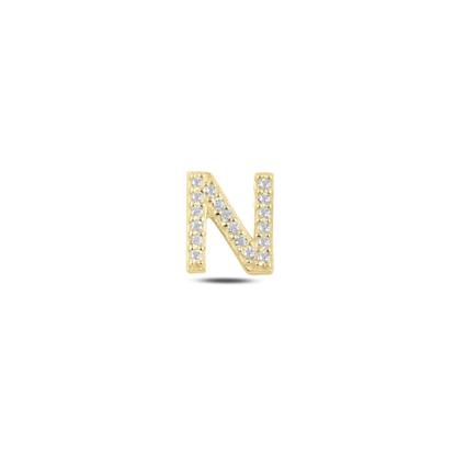 Resim Tekli Altın Kaplama Beyaz Zirkon Taş -N- Harfi Gümüş Küpe