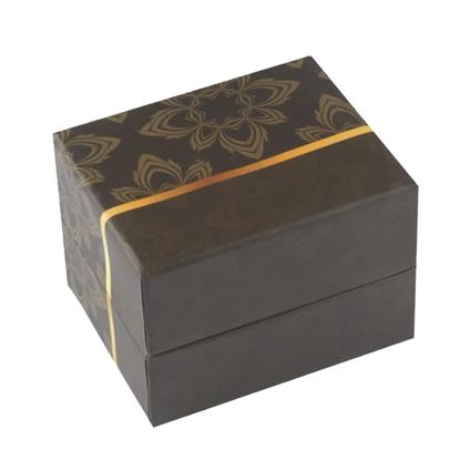 Resim Açık Kahverengi Çiçek Desenli Yastıklı Saat ve Bileklik Karton Hediye Kutusu