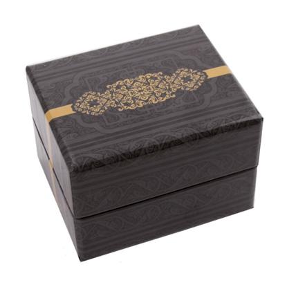 Resim Altın Sarısı Desenli Yastıklı Saat ve Bileklik Karton Hediye Kutusu