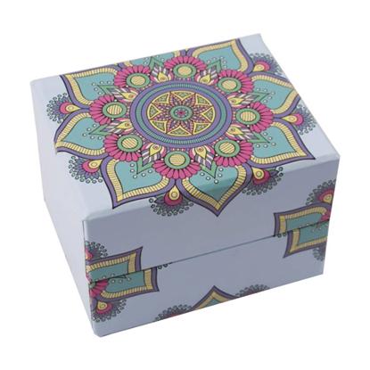 Resim Çiçek Motifli Süngerli Saat ve Bileklik Karton Hediye Kutusu