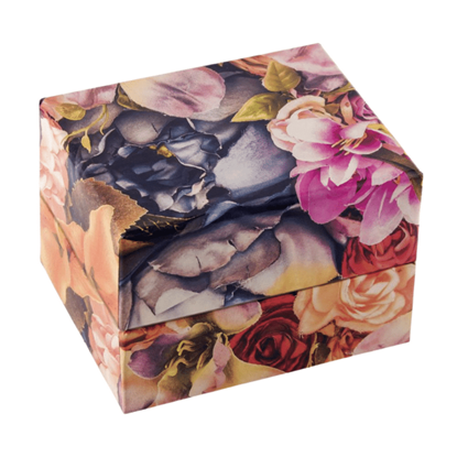 Resim Çiçek Desenli Yastıklı Saat ve Bileklik Karton Hediye Kutusu