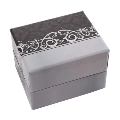 Resim Beyaz Desenli Yastıklı Saat ve Bileklik Karton Hediye Kutusu
