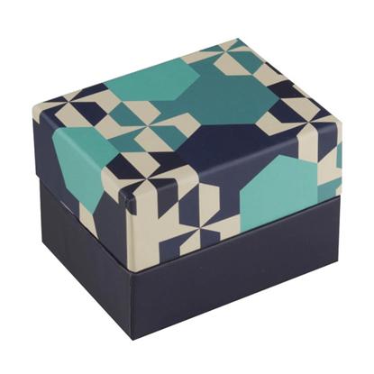 Resim Beşgen Desenli Yastıklı Saat ve Bileklik Karton Hediye Kutusu