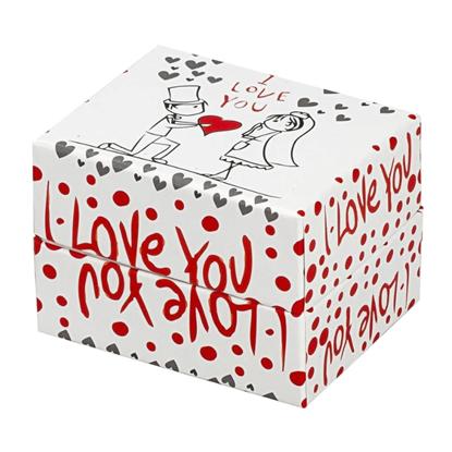 Resim I love You Yastıklı Saat ve Bileklik Karton Hediye Kutusu