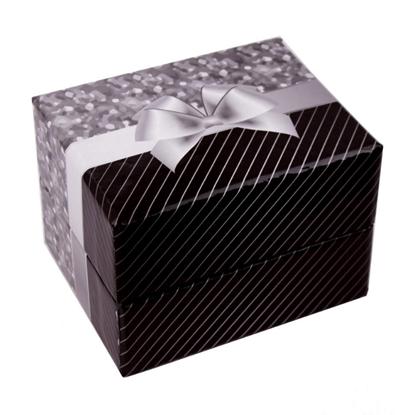 Resim Gri Kurdeleli Yastıklı Saat ve Bileklik Karton Hediye Kutusu