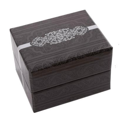 Resim Gri Desenli Yastıklı Saat ve Bileklik Karton Hediye Kutusu