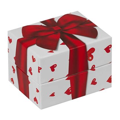 Resim Kalpli Kırmızı Fiyonklu Yastıklı Saat ve Bileklik Karton Hediye Kutusu