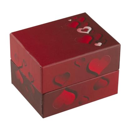 Resim Kalplerle Kaplı Yastıklı Saat ve Bileklik Karton Hediye Kutusu