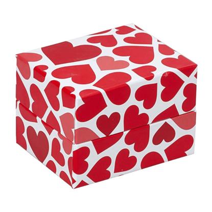 Resim Kırmızı Kalple Dolu Yastıklı Saat ve Bileklik Karton Hediye Kutusu