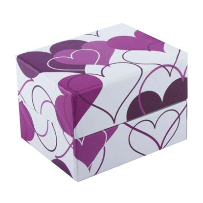 Resim Mor Kalp Desenli Yastıklı Saat ve Bileklik Karton Hediye Kutusu