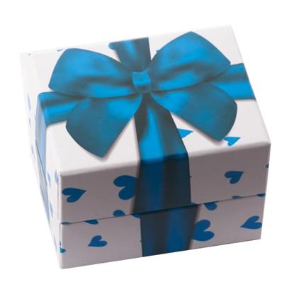 Resim Mavi Fiyonklu ve Kalpli Yastıklı Saat ve Bileklik Karton Hediye Kutusu