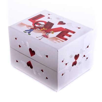 Resim Kırmızı Kalpler Love Çocuk Desenli Yastıklı Saat ve Bileklik Karton Hediye Kutusu
