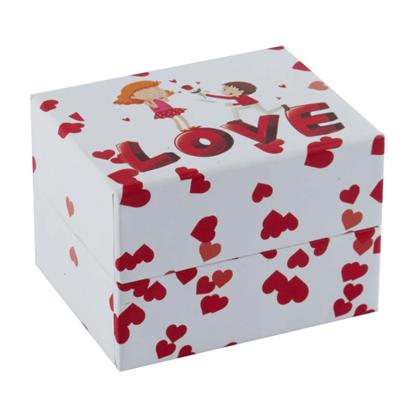 Resim Kırmızı Kalpler Love  Yastıklı Saat ve Bileklik Karton Hediye Kutusu