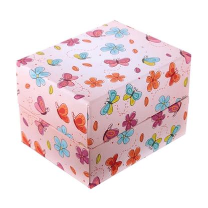 Resim Uçan Kelebek ve Çiçek Desenli Yastıklı Saat ve Bileklik Karton Hediye Kutusu