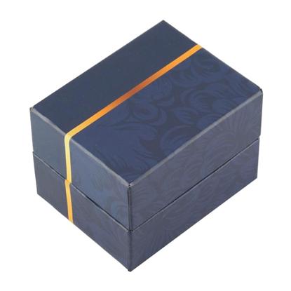 Resim Sarı Çizgili Lacivert Desenli Yastıklı Saat ve Bileklik Karton Hediye Kutusu