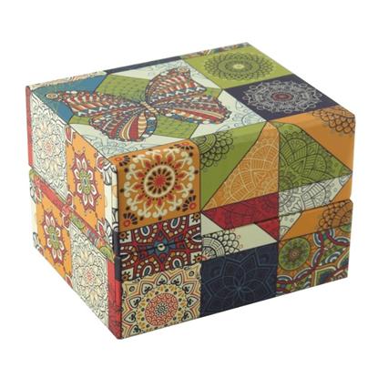 Resim Renkli Kelebek Desenli Yastıklı Saat ve Bileklik Karton Hediye Kutusu