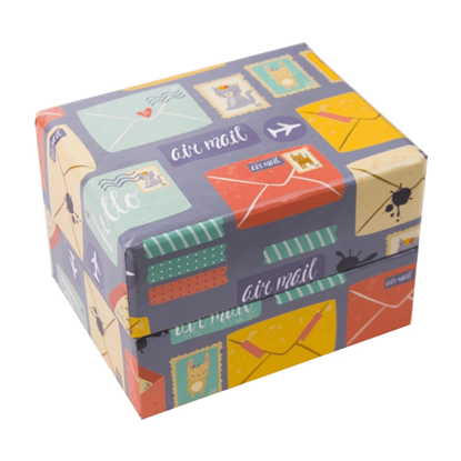Resim Posta Pulu ve Zarf Desenli Süngerli Saat ve Bileklik Karton Hediye Kutusu