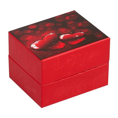 Resim Parlayan Çift Kalp Yastıklı Saat ve Bileklik Karton Hediye Kutusu
