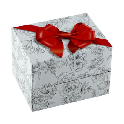 Resim Fiyonk Desenli Yastıklı Saat ve Bileklik Karton Hediye Kutusu