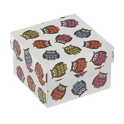 Resim Baykuş Desenli Yastıklı Saat ve Bileklik Karton Hediye Kutusu