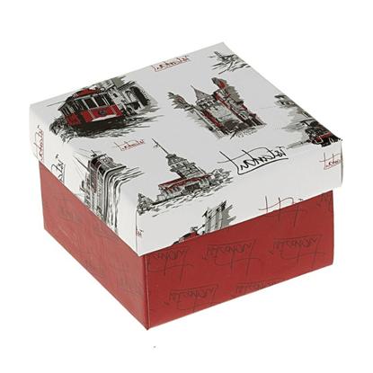 Resim İstanbul Desenli Yastıklı Saat ve Bileklik Karton Hediye Kutusu