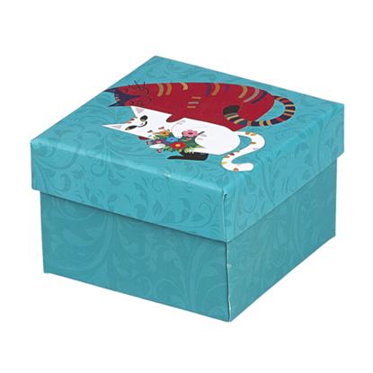 Resim Kedi Desenli Yastıklı Saat ve Bileklik Karton Hediye Kutusu