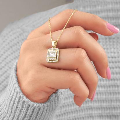 Resim Altın Kaplama Baget Zirkon Taşlı Gümüş Bayan Kolye