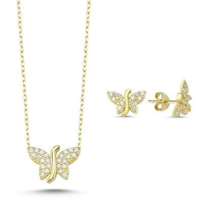Resim Altın Kaplama Zirkon Taşlı Kelebek Gümüş Bayan Set