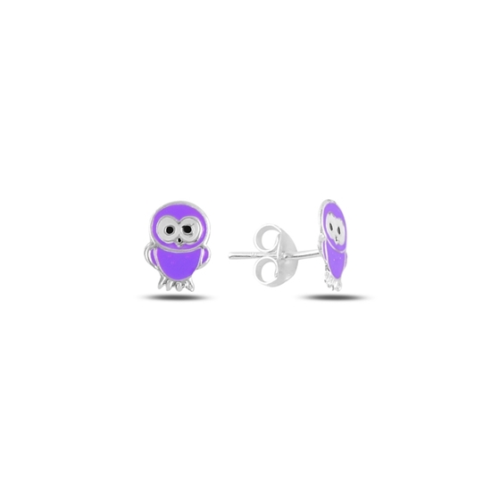 Ürün resmi: Baykuş Mineli Gümüş Kız Çocuk Küpe