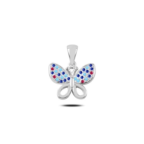 Ürün resmi: Zirkon Taşlı Kelebek Gümüş Bayan Kolye Ucu