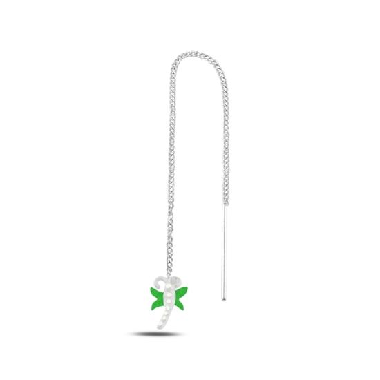 Ürün resmi: Yeşil Mineli Yusufçuk Japon Gümüş Küpe