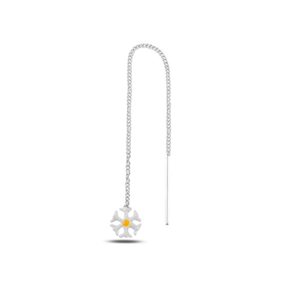 Ürün resmi: Turuncu Mineli Papatya Japon Gümüş Küpe