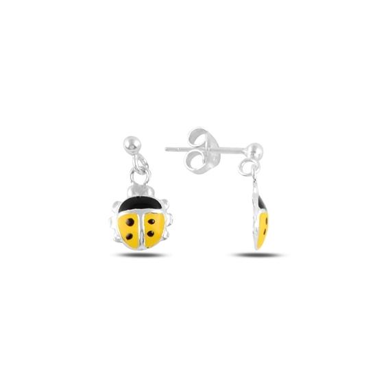 Ürün resmi: Uğur Böceği Mineli Sallantılı Gümüş Kız Çocuk Küpesi