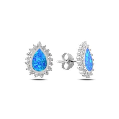 Resim Opal & Zirkon Taşlı Halo Gümüş Küpe
