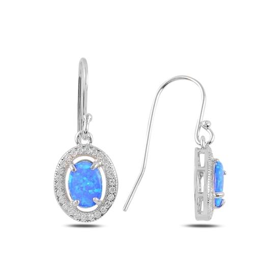 Ürün resmi: Opal & Zirkon Taşlı Halo Gümüş Sallantılı Küpe