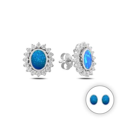 Resim Opal & Zirkon Taşlı Çift Kullanımlı Halo Gümüş Küpe