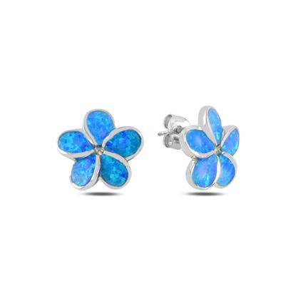 Resim Çiçek Opal Taşlı Gümüş Küpe