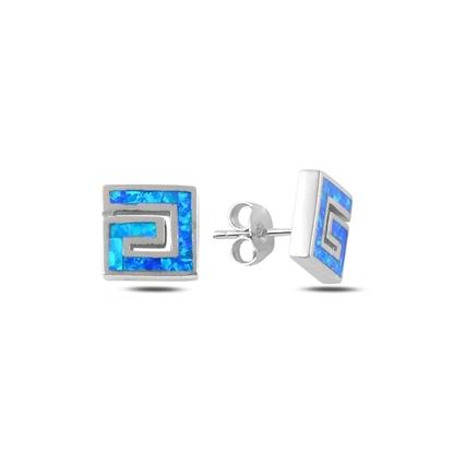 Resim Opal Taşlı Gümüş Küpe
