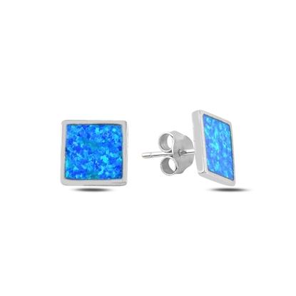 Resim Opal Taşlı Kare Gümüş Küpe