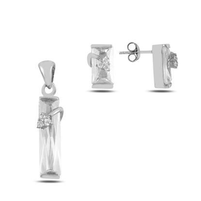 Resim Baget Zirkon Taşlı Gümüş Bayan Set