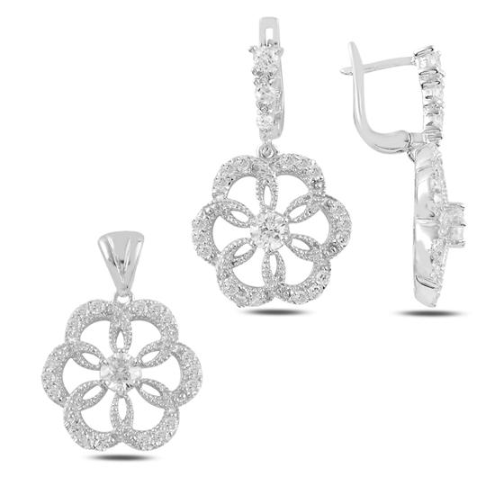 Ürün resmi: Çiçek Zirkon Taşlı Gümüş Bayan Set
