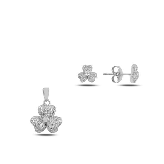 Ürün resmi: Yonca Zirkon Taşlı Gümüş Bayan Set