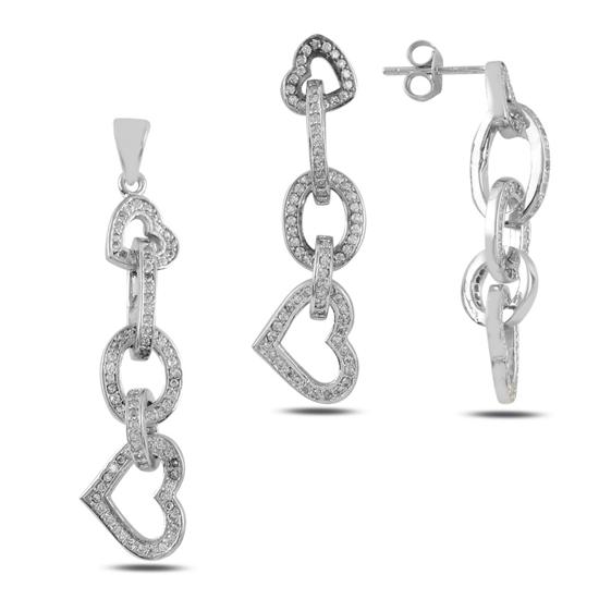 Ürün resmi: Kalp Zirkon Taşlı Gümüş Bayan Set