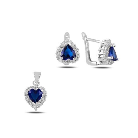 Ürün resmi: Kalp Safir Zirkon Taşlı Gümüş Bayan Set